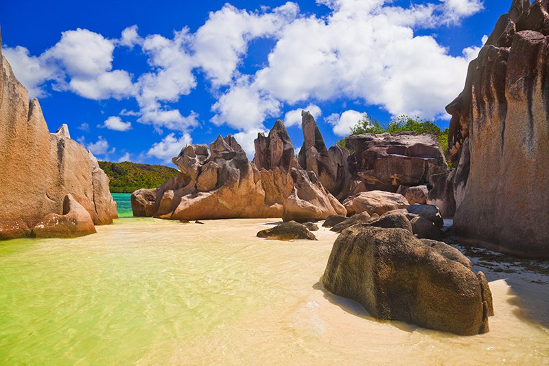 Seychelles sand and rocks