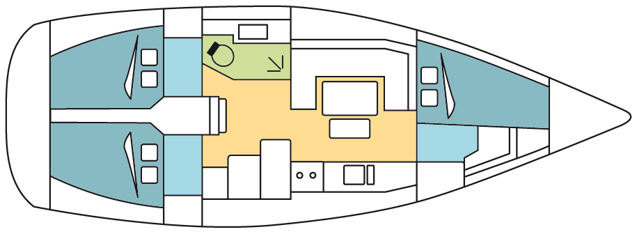 Dufour 380 Grand Large Layout
