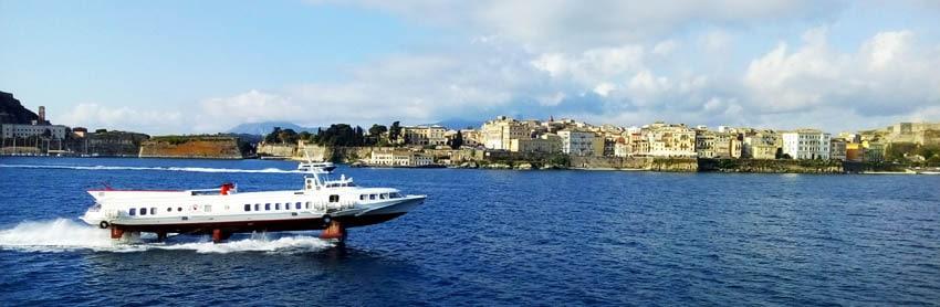 A hydrofoil ferry passes Corfu Town