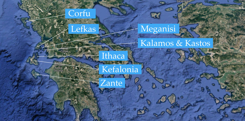 Map of the Ionian Islands